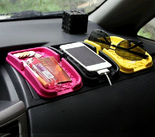 The Silicone Material Non-Slip Mat Car Motor Vehicle Small Items Carrying Stay Goods Cellphone Charge Sunglasses (Red)