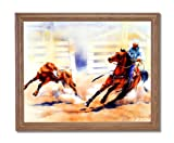 Western Rodeo Cowboy Calf Roping Horse Animal Home Decor Wall Picture Oak Framed Art Print