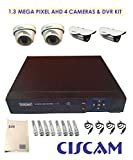 Ciscam CS-422DB 8-CH Dvr, 1.3 MP 2 -Dome & 2-Bullet Cameras (BNC Connectors - 8& DC Jacks -4 & Power Supply)