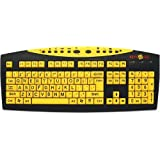 Keys U See Large Print US English USB Wired Keyboard - Yellow Keys with Large Black Print Characters / Letters (US English) ~ MAGNIFYING AIDS