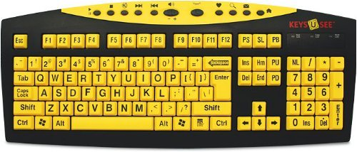 Keys U See Large Print Us English Usb Wired Keyboard - Yellow Keys With Large Black Print Characters / Letters (Us English)