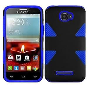 HR Wireless Dynamic Slim Hybrid Case for Alcatel One Touch Fierce 2 7040T - Retail Packaging - Black/Blue