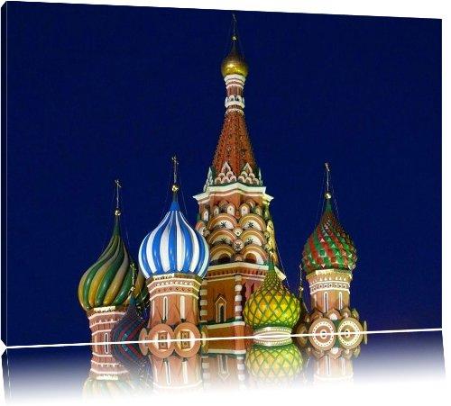 Kreml Moskau Russland Asien 100x70cm Bild auf Leinwand, XXL riesige Bilder fertig gerahmt mit Keilrahmen. Kunstdruck auf Wandbild mit Rahmen. Günstiger als Gemälde oder Ölbild, kein Poster oder Plakat.