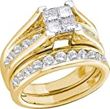 10K Yellow Gold Diamond Ladies Bridal Engagement Ring with Matching Wedding Band Two 2 Ring Set Invisible Solitaire 4 Stone Princess cut Center Setting with Round Brilliant Side Stones Channel Set with Nine 9 Stones , Round & Princesse Cut Diamond Ring 5m