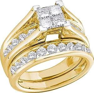 Amazon.com: 10K Yellow Gold Diamond Ladies Bridal