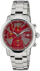 Seiko Criteria Chronograph Red Dial Womens Watch - SNDY05P1