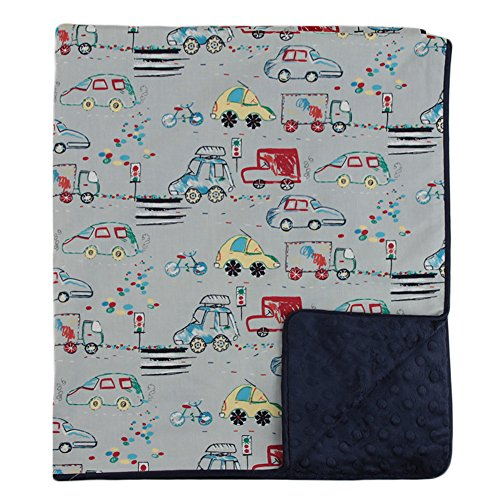 "My Blankee Crayon Commute Organic Cotton Grey w/ Minky Dot Navy Baby Blanket, 30"" X 35"""