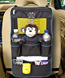 Backseat Organizer - Luxury Car Storage Organizer - Perfect For Your Kids Accessories, Ipad, Tablets, Toys, Sippy Cups, Water Bottle, Etc - Designed To Fit Most Vehicles With The Aid Of Adjustable Straps Top And Bottom Which Keeps The Car Storage Backseat Organizer Securely In Position - Makes A Great Car Seat Protector, Back Seat Protector Or Kick Mat - Made in Black With Blue Piping - Protect Your Investment - Comes With A Lifetime Guarantee From A Company You Can Trust