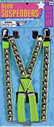 Studded Punk Suspenders Neon Green Punk Costume Suspenders 64533