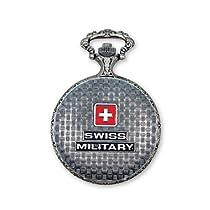 JD Manoir Slvr-tone Brass Wht Dial Swiss Military Pocket Watch