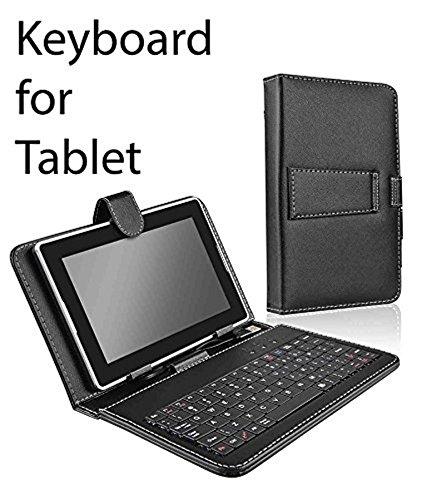 Jkobi Premium Leather Finished USB Keyboard Tablet Flip Case Holder Cover For iBall Slide 3g 17 Tab Tablet (Universal) - Black