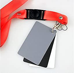 VILTROX 3 Card Set General WBC Premium Exposure Photography White Balance Card 18% Gray Card Set with Premium Lanyard for Video, DSLR and Film