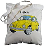 Personalised - Yellow VW Beetle - Natural Cotton Shoulder Bag