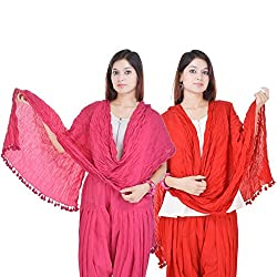 Kalrav Solid Light Pink and Red Cotton Dupatta Combo