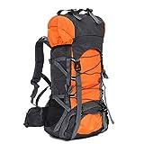 60L大容量 軽量 アウトドア スポーツバッグ キャンプ ハイキング リュック 旅行バックパック 防水登山用バッグ トートバッグ ショルダーバッグ 男女兼用 (オレンジ)