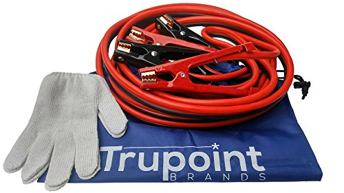 Auto Battery Charger Cable - Power Booster Cables for Trucks & Car Batteries - Automotive Battery Charger Jump Starter Kit with Work Gloves & Carry Bag - Jumper Cables 4 gauge 20ft - TruPoint Brands (Car Battery Extension Cables compare prices)