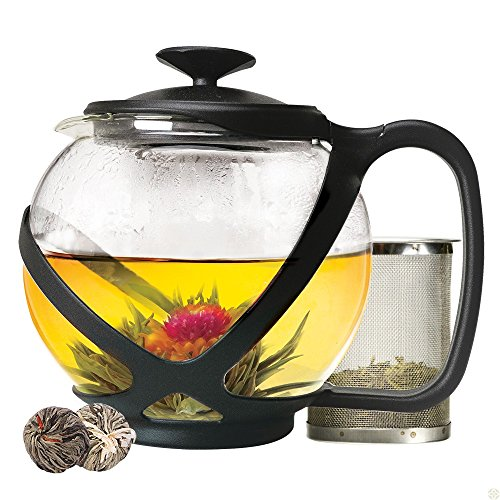 Tempered Glass 5-Cup Black Tea Pot w/ Removable Steel Infuser, 40 Fluid Ounces (PLUS 2 TEA FLOWERS FREE LIMITED TIME) by Pride Of India (40 Oz Cast Iron Tea Pot compare prices)