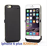 iPhone 6S plus-6 plus Power Charge Case High Capacity 8200mAh External Backup Power Battery Charger Case Stand Cover For Iphone6 plus 6S plus (Black)