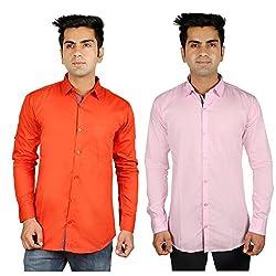 Nimegh Orange, Pink Color Cotton Casual Slim fit Shirt For men's (Pack of 2)