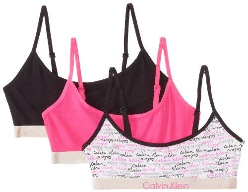 Calvin Klein Big Girls'  Ck 3 Pack Fashion Crop Bras, Assorted, Large 12/14