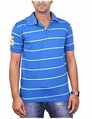 DK Polo Tee- Blue Stripes