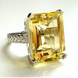 16 Carat Lemon Citrine Cocktail Ring w/ Engraved Setting :  citrine citrine cocktail ring elegant cocktail ring gemstone ring