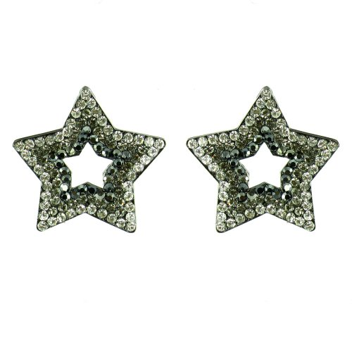 Clear Crystal And Black On Antique Black Crystal Star Earrings front-673188