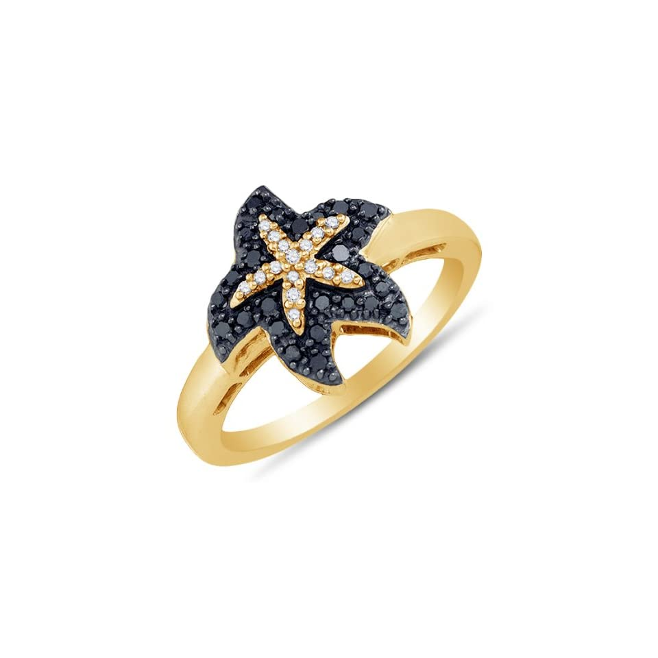 Size 4   10K Yellow Gold Prong Set Starfish Round Cut Black and White Diamond Ladies Womens Fashion, Wedding Ring OR Anniversary Band (1/5 cttw.)