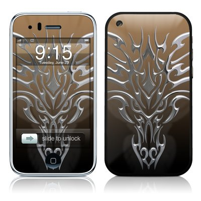 Tribal Dragon Chrome Design Protector Skin Decal Sticker for Apple 3G iPhone / iPhone 3GS 3G S