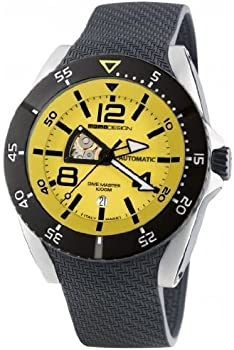 Momo Design Yellow Dial Black Rubber Mens Watch