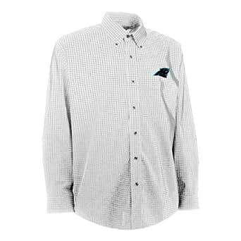 NFL Men's Carolina Panthers Esteem Woven Dress Shirt (White/Grey, Small)