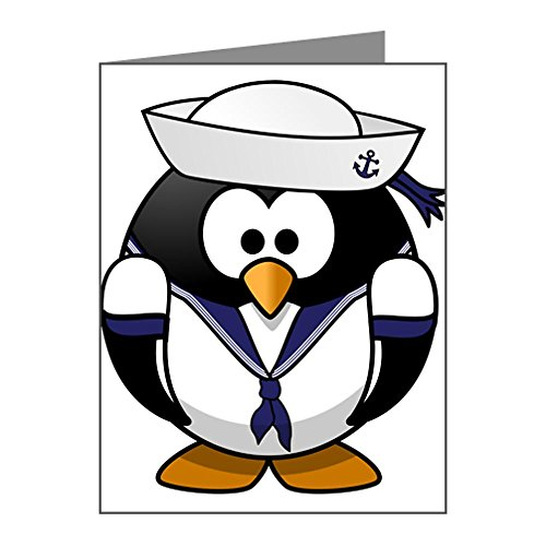 Note Cards (20 Pack) Little Round Penguin - Navy Sailor