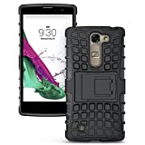 Ziaon Flip Kickstand Rugged Dual Layer Hybrid Case For LG Magna With Free Screen Guard - Black