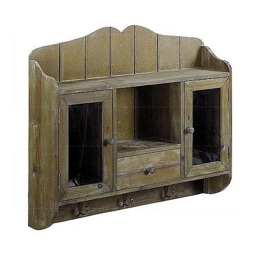 regal k chenregal badregal altes holz glas antik finish. Black Bedroom Furniture Sets. Home Design Ideas