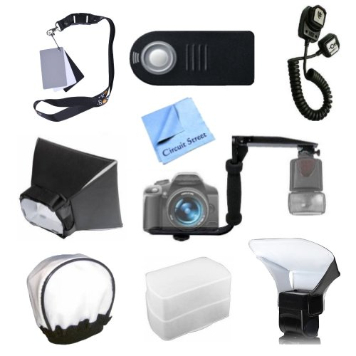 Best Value Authority Series Flash Accessory Kit for Nikon SB-800 Speedlight Shoe Mount Spark: Includes Flash Rotating Bracket, Off Camera Shoe String, Wireless Remote, Soft Box Diffuser, Murky Card Set, Bounce Diffuser, Pocket Bouncer, Compressible Diffus