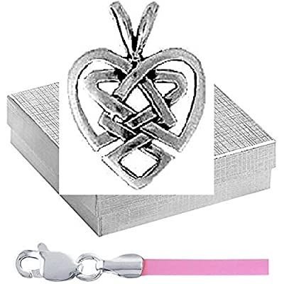"""Sterling Celtic Heart Pendant with 16"""" Pink Cord Irish Charm Jewelry Set in Silver Gift Box"""