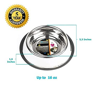 Dog Bowls 16 Ounce Made of Stainless Steel for Long Durability with Rubber Base That Wont Slip, Your Pet Can Use One for Water and One for Food Made with High Quality Materials for Your Puppy, Beautiful Dish with the Best Lifetime Guarantee (Set of 2)