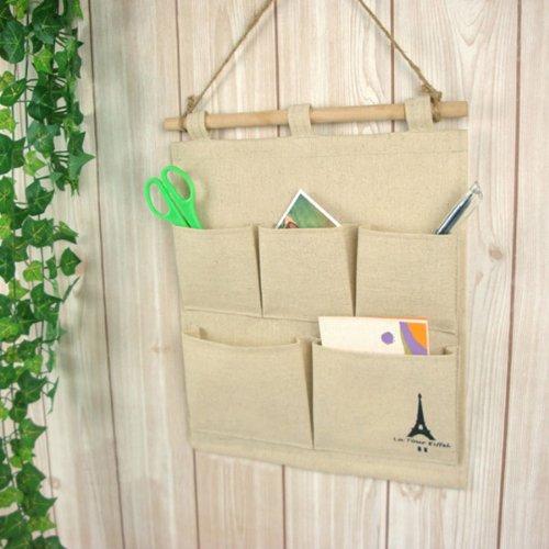 Foxnovo Novelty Soft Linen Door Wall Hanging 5-Pockets Gadget Storage Bag Pouch Organizer front-668455