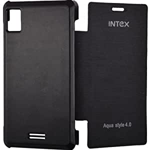 Moblus Flip Cover For Intex Aqua Style 4.0 (Black)