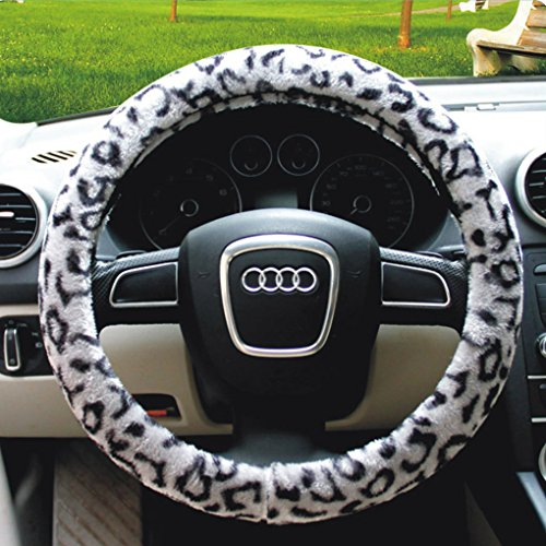 Universal Luxury Automotive Car Winter Ultra Soft Stretch-on Leopard Pattern Wool Plush Steering Wheel Cover Nice Protector, Xmas Gift (*Gray) (Steering Wheel Cover Pattern compare prices)