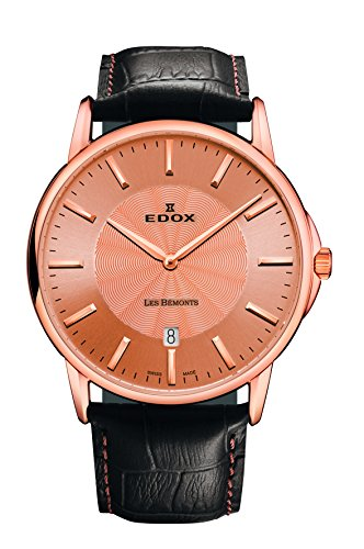 EDOX - 56001 37R ROIR Unisex Watch Analogue Quartz Brown Leather Strap