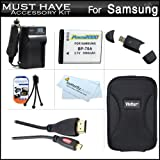 Must Have Accessory Kit For Samsung WB30F, MV800 MultiView Digital Camera Includes Extended Replacement (1000 maH) BP-70A Battery + Ac/Dc Travel Charger + Micro HDMI Cable + Deluxe Case + Mini Tabletop Tripod + Screen Protectors + More