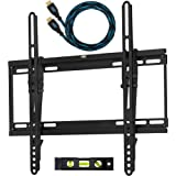 "Cheetah Mounts APTMSB Flat Screen TV Wall Mount Bracket Designed for 32""-55"" Plasma LED LCD TV (Actually Fits 20-55"" TVs) Includes Free 10' Braided High Speed HDMI Cable With Ethernet"