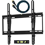 """Cheetah Mounts APTMSB Flat Screen TV Wall Mount Bracket Designed for 32""""-55"""" Plasma LED LCD TV (Actually Fits 20-55"""" TVs) Includes Free 10' Braided High Speed HDMI Cable With Ethernet ~ Cheetah"""