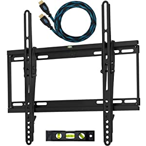 """Cheetah Mounts APTMSB Flat Screen TV Wall Mount Bracket Designed for 32""""-55"""" Plasma LED LCD TV (Actually Fits 20-55"""" TVs) Includes Free 10' Braided High Speed HDMI Cable With Ethernet"""