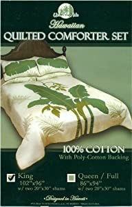 Hawaiian Quilted Comforter Set with 2 Pillow Shams Queen size 100% Cotton - Heliconia flower