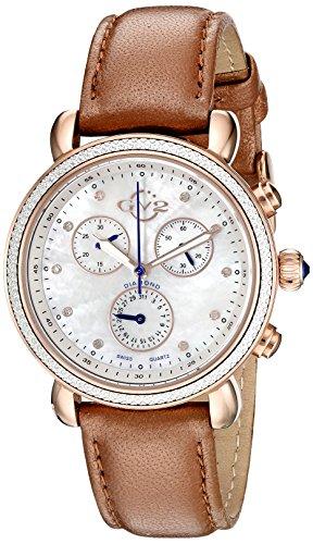 GV2by Gevril 9805Marsala pantalla analógica Swiss reloj de oro de cuarzo de la mujer