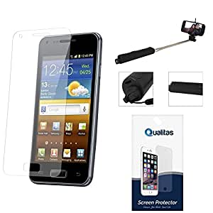 Qualitas Pack of 3 Matte Screen Protector for Samsung Galaxy S4 I9500 + Wireless Bluetooth Selfie Stick with Image Zoom