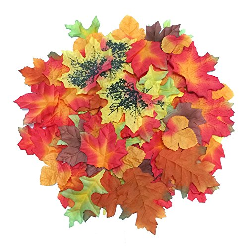 Luxbon-100er-Packung-Multicolor-knstliche-Herbstlaub-Ahornbltter-Herbstbltter-Sortierung-Bltter-aus-Textil-als-Streudeko-Unterlage-Wandbild-Trschild-Party-Hochzeit-Weihnachten-Deko
