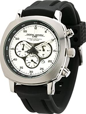 Jorg Gray 3500 Mens Chronograph w/ Date - Silver-Tone Layered Dial - Rubber